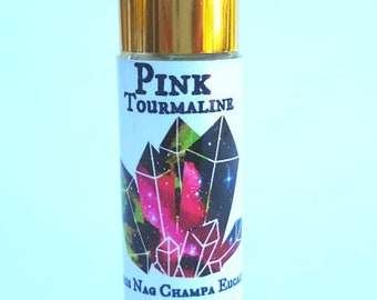 Pink Tourmaline Citrus Eucalyptus Nag Champa Oil Roll On Perfume Oil 10ml Infused with  Crystals