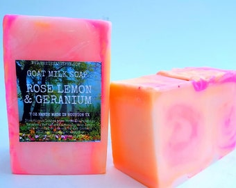 Lemon Rose & Geranium  Goat Milk Soap 7 oz bar HUGE!!