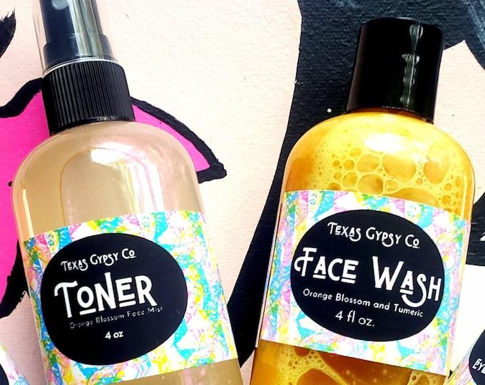 Orange Blossom Water + Turmeric  Face Wash + Toner Set 4oz