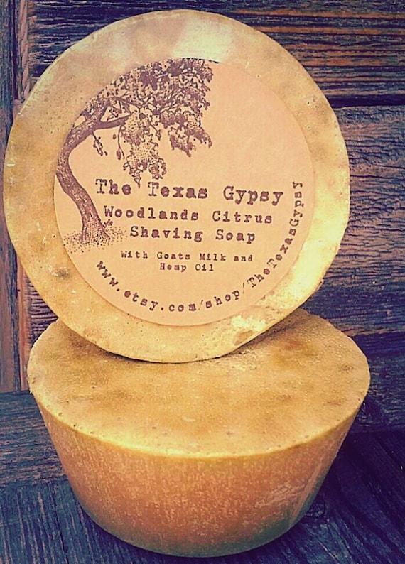 Woodland Citrus Shaving Soap- with Goats Milk and Hemp Oil (Citrus Nag Champa Eucalyptus)