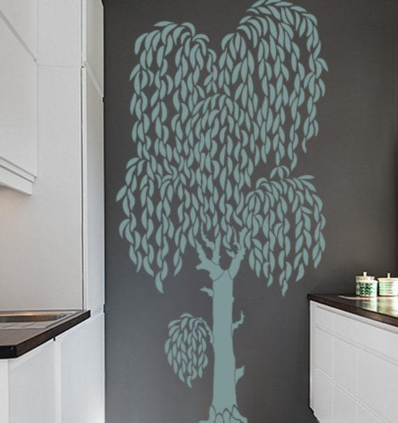 Tree Wall Stencil Large Weeping Willow Tree Diy Wall Decor