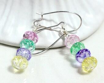 Ice Flake Quartz Earrings, Pastel Colors
