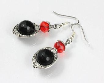 Black and Red Dangle Earrings, School Colors Earrings, Texas Tech, Red Raiders