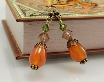 Carnelian Earrings, Swarovski Crystals, Antique Gold, Vintage Style, Fall Colors
