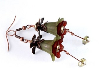 Olive Green and Brown Lucite Floral Earrings, Vintage Inspired, Woodland