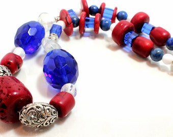 Red, White, and Blue Chunky Necklace, USA, Patriotic Necklace, Fourth of July, Memorial Day