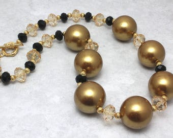Gold and Black Chunky Pearl Necklace, Adult Necklace, Statement Necklace, New Years Eve, Pittsburgh Steelers, New Orleans Saints