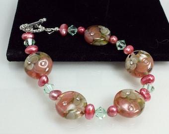 Lampwork Bracelet, Sparkling Rosy Mocha
