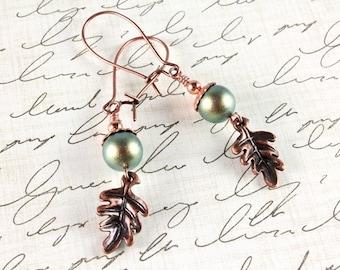 Copper Maple Leaf and Swarovski Pearl Earrings, Swarovski Pearl, Iridescent Green Pearls, Fall Earrings