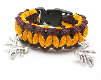Maroon and Gold School Colors Paracord Bracelet, Hornets, Kermit Yellowjackets