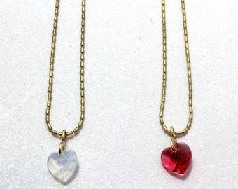 Swarovski Little Girl Heart Pendant, Rose or White Opal, Little Girl Necklace, Heart Necklace