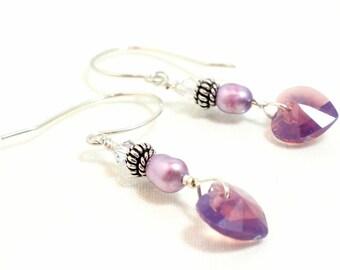 Swarovski Heart Earrings, Crystal Earrings, Valentines Gift, Cyclamen Opal Swarovski Crystal, Pearl, Sterling Silver