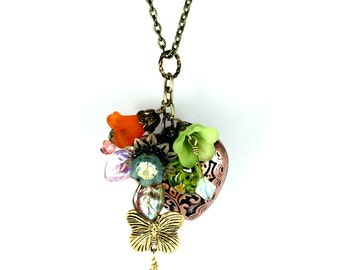 Hearts, Flowers, and Butterflies Cluster Pendant, Mixed Metals, Vintage Style, Floral Design