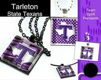 Tarleton Glass Tile Pendant, Tarleton Logo, Graduation Gift, Square Pendant, School Jewelry, Team Jewelry, Your School