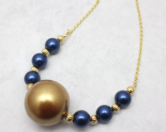 Blue and Gold Pearl Necklace, School Colors, Spirit Necklace, Chunky Pearl Necklace