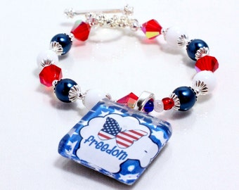 Patriotic Bracelet, Red White Blue, American Flag, Patriotic Beaded Bracelet, Freedom Bracelet, Fourth of July, Memorial Day