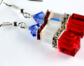 Patriotic Crystal Cube Earrings, Patriotic Swarovski Earrings, Patriotic Earrings, Stacked Cubes, Fourth of July, Memorial Day