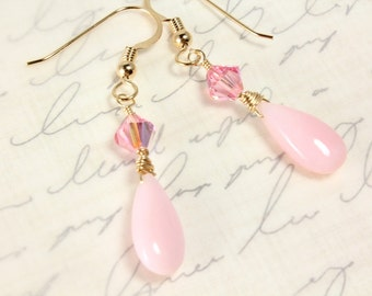 Pink Peruvian Opal Earrings, Swarovski Crystals, Gold Filled, Teardrop Opals, October Birthstone, Bridal Earrings, Breast Cancer Awareness