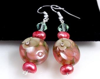 Lampwork Earrings, Sparkling Rosy Mocha