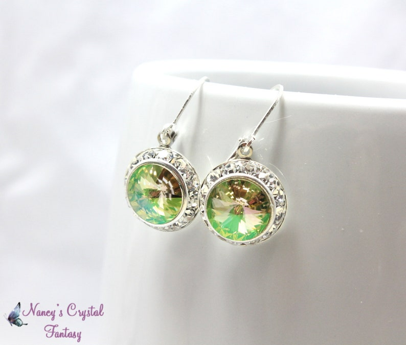 16acc30cc Luminous Green Swarovski Crystal Earrings Shimmering Green | Etsy