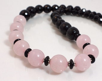 Rose Quartz and Onyx Necklace, Bead Necklace, Pink and Black