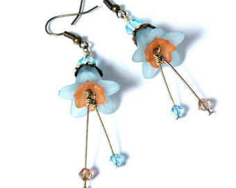 Aqua and Peach Flower Earrings, Lucite Flowers, Floral Earrings. Swarovski Crystal