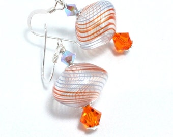 Blown Glass Earrings, Swarovski Crystal and Sterling Silver Earrings, Orange and Blue