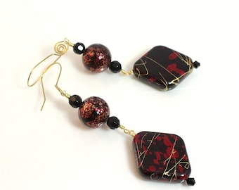 Red and Black Long Dangle Earrings, School Jewelry, Texas Tech, Red Raiders