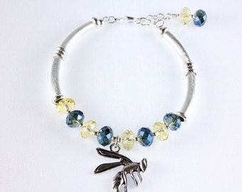 Yellowjacket and Crystal Bracelet - Blue and Gold - Stephenville - School Mascot - Memory Wire - Bangle Bracelet