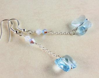 Swarovski Butterfly Earrings - Aquamarine - Sterling Silver