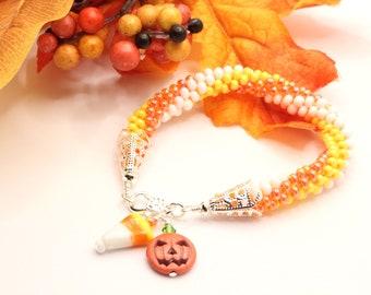 Candy Corn Halloween Fall Kumihimo Bracelet with Charms