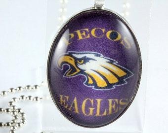School Mascot Glass Tile Pendant, Graduation Gift, Cheerleaders, School Logo, School Mascot, School Jewelry, Team Jewelry