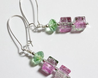 Pink and Green Earrings, Watermelon Crackle Glass and Crystal