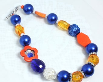 Team Spirit Bling Necklace, Orange and Blue