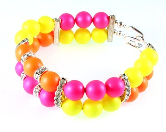 Swarovski Neon Pearl and Rhinestone Bracelet, Neon Swarovski Pearls, Neon Pink, Neon Yellow, Neon Orange