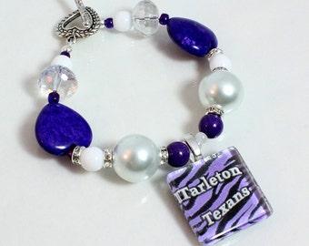 Team Spirit Bracelet, School Colors, School Jewelry, Graduation Gift, Spirit Slogan, Your Choice of Schools