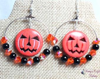 Howlite Jack-o-Lantern Hoop Earrings, Large Pumpkin Earrings, Halloween Earrings
