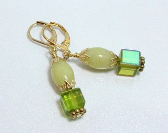 Light Green Jade Earrings With Peridot Green Crystal Cubes, August Birthday