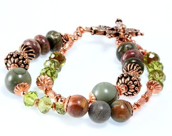 Red Creek Jasper Bracelet, Copper, Crystals, Two Strand, Woodland Chic, Rustic Chic