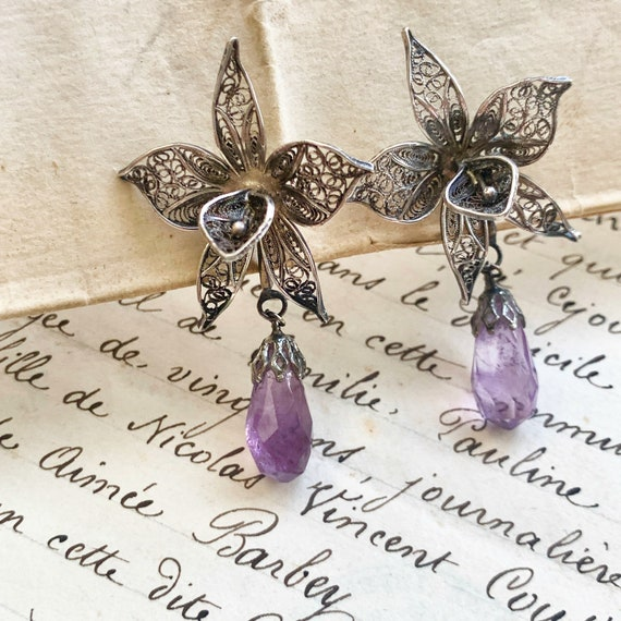 Vintage Orchid Earrings 800 Silver with Amethyst d