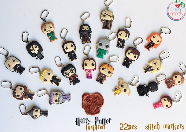Harry Potter inspired Stitch markers for crochet and knitting image 0