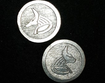 Anubis and Bastest Egyptian Two-sided Coin or Pendant