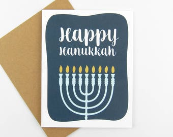 Happy Hanukkah Card | Hanukkah Stationery | Set of 8 Cards | Holiday Card |Hanukkah Card | Menorah | Chanukah Card | Set of Hanukkah Cards