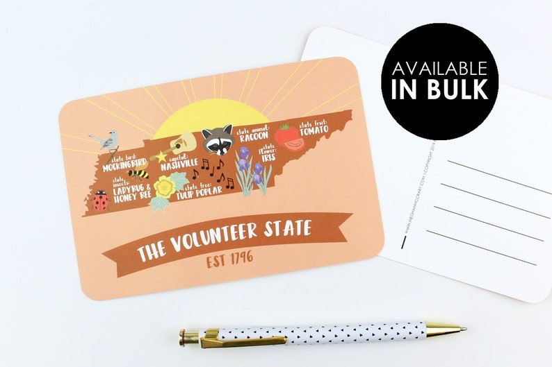 Volunteer State Postcard | Set of Postcards | Tennessee | Knoxville | We've  Moved | Going Away | Stationery | Nashville | State Postcard