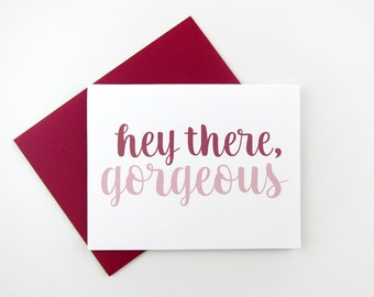 Hey There Gorgeous Card   Friendship Card   Galentine's Day Card   Hello   Miss You   Best Friend   Stationery   Set of Cards   Besties