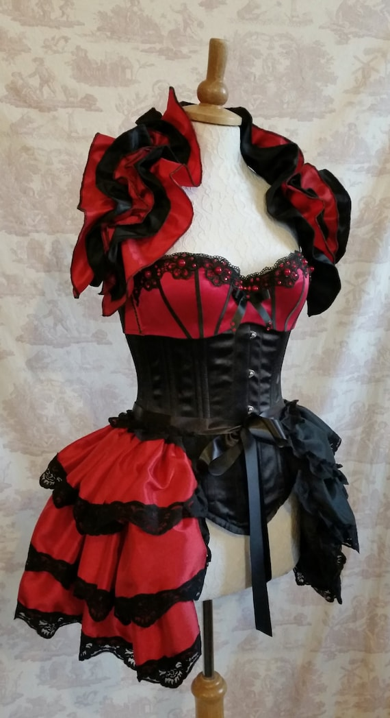 Plus Size HARLEY QUINN Cosplay Taffeta Costume Bustle By Gothic Burlesque