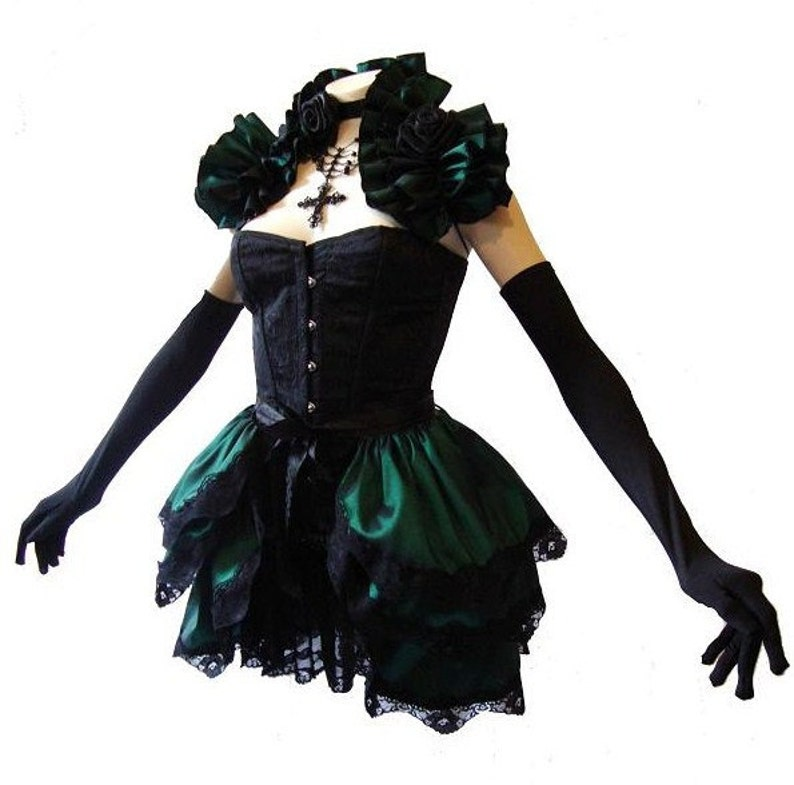 Lady  Absinthe    BURLESQUE  Bustle Skirt  and Shrug SET goth STEAMPUNK By Gothic Burlesque