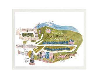 Harry & Meghan, Royal Wedding Processional Route, Art Print