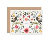 Scandinavian floral Thank You card