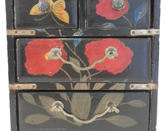 Vintage Black with Hand painted red Flowers and Butterfly Little Wooden Chest with drawers and metal handles